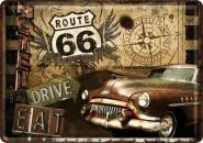 NostalgicArt metallist postkaart Route 66 Drive & Eat