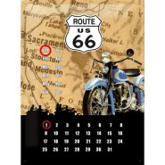 NostalgicArt retro stiilis kalender Route 66 Sinine Mootorratas