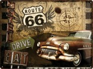 NostalgicArt metallplaat Route 66 Drive & Eat
