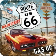 NostalgicArt retro klaasialus Route 66 Gas Up