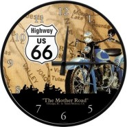 NostalgicArt seinakell Route 66 Sinine Mootorratas
