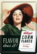 NostalgicArt metallist postkaart Kellogg's Corn Flakes Flavor does it!