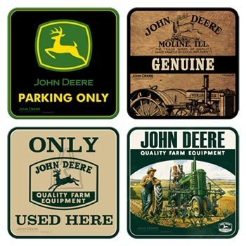 NostalgicArt retrostiilis klaasialused John Deere Quality Farm Equipment 4tk