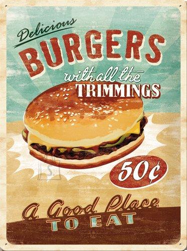 NostalgicArt metallplaat Delicious Burgers
