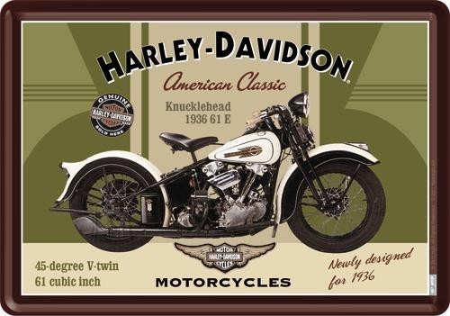 NostalgicArt metallist postkaart Harley-Davidson Knucklehead