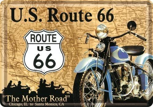NostalgicArt metallist postkaart Route 66 sinine