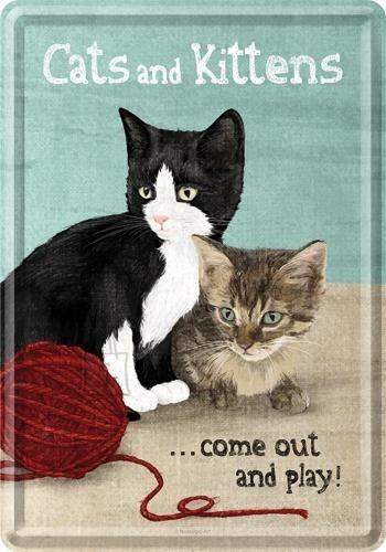 NostalgicArt metallist postkaart Cats and Kittens