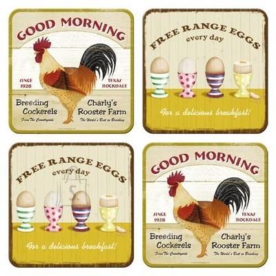 NostalgicArt retro klaasialused Good Morning/Free Range Eggs 4tk