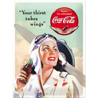 "NostalgicArt Metallplaat 30x40cm / Coca-Cola ""Your Thirst Takes Wings"""