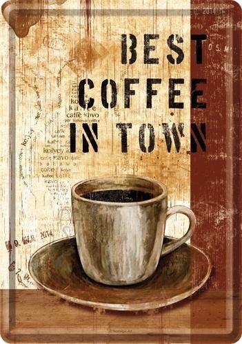 NostalgicArt metallist postkaart Best coffee in town