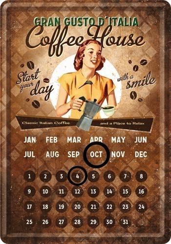 NostalgicArt metallist postkaart-kalender Coffee House