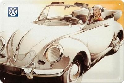 NostalgicArt metallplaat VW valkoinen avokupla