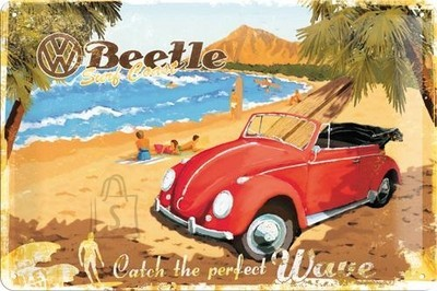 NostalgicArt metallplaat VW Beetle Catch the perfect wave