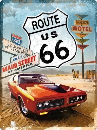 NostalgicArt metallplaat Route 66 Gas Up