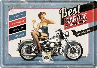 NostalgicArt metallist postkaart Best Garage for Motorcycles