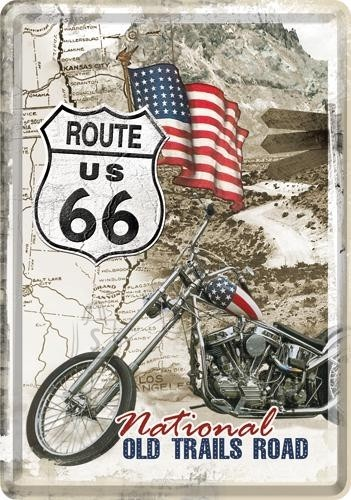 NostalgicArt metallist postkaart Route 66 National Old Trails Road