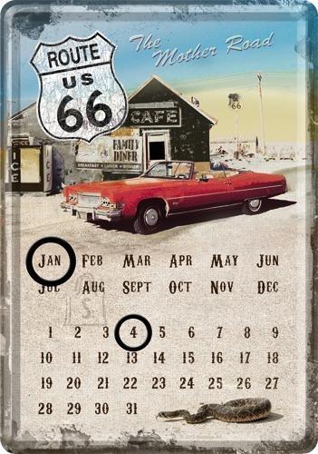 NostalgicArt metallist postkaart-kalender Route 66 Punane auto