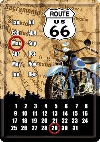 NostalgicArt metallist postkaart-kalender Route 66 Sinine Mootorratas