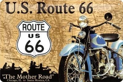 NostalgicArt metallplaat Route 66 Sinine Mootorratas