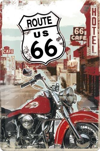 NostalgicArt metallplaat Route 66 Lone Rider