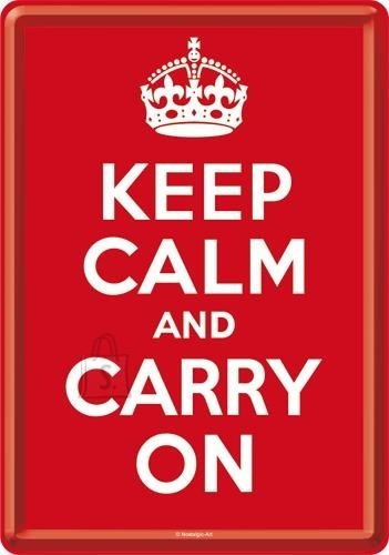 NostalgicArt metallist postkaart Keep calm and carry on