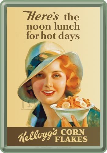 NostalgicArt metallist postkaart Kellogg's Here's the noon lunch for hot days