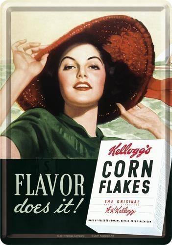 NostalgicArt metallist postkaart Kellogg's Corn Flakes Flavor does it!