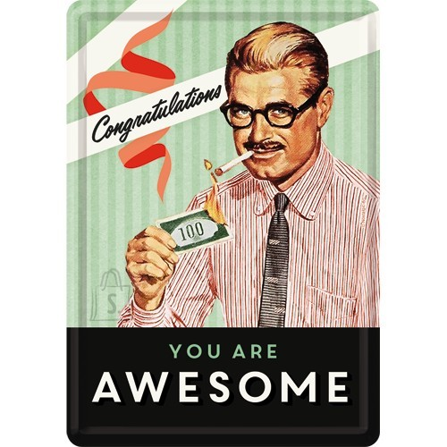 NostalgicArt Postkaart metallist 10x14,5cm / You Are Awesome
