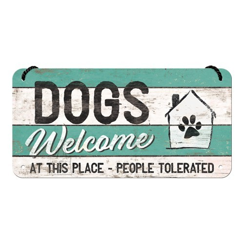 Metallplaat 10x20 cm / Dogs Welcome...