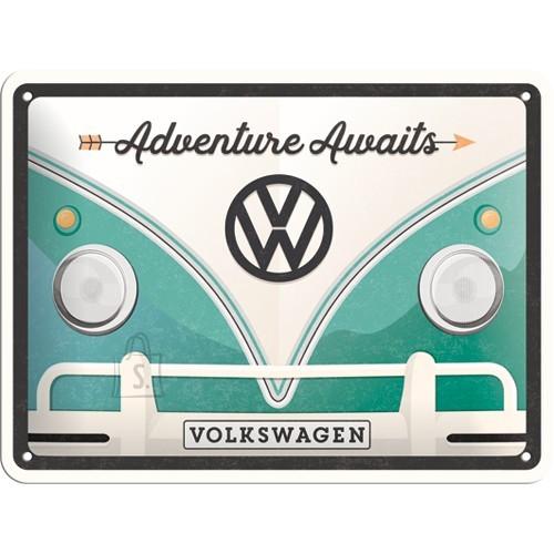 Metallplaat 15x20cm / VW Bulli Adventure Awaits