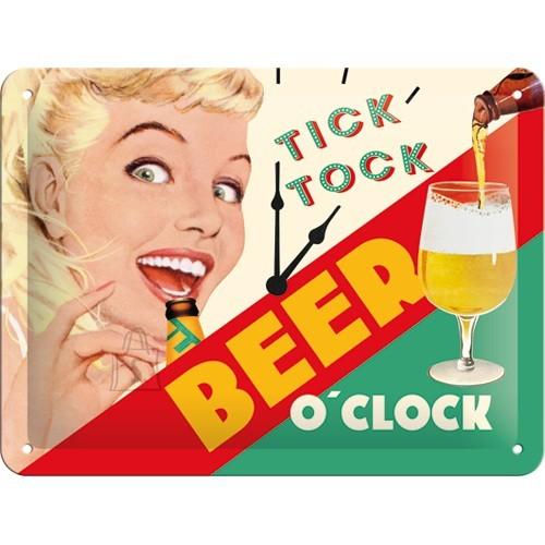 Metallplaat 15x20cm / Tick Tock Beer O'Clock