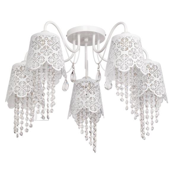 MW-LIGHT laelamp Elegance, 5 kupliga, rippuvate kaunistustega