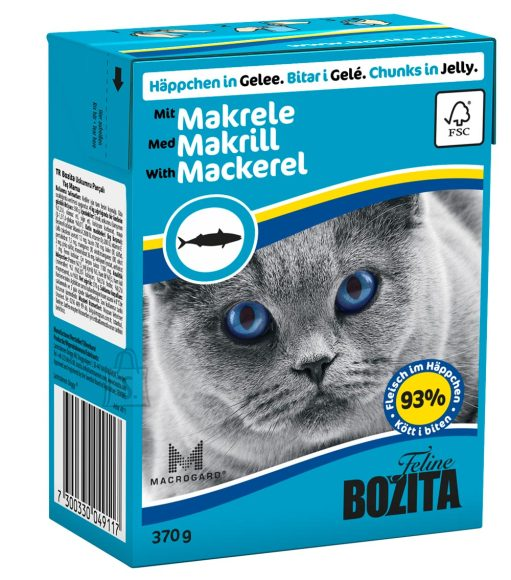 Bozita kassikonserv Mackerel in Jelly 16x370g