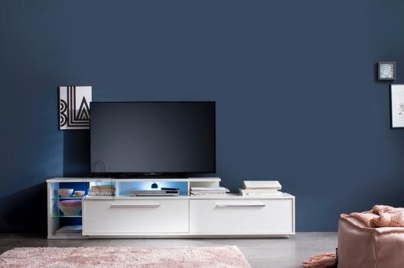Trendteam Tv-alus KUBA valge läikega, 212x42xH52 cm