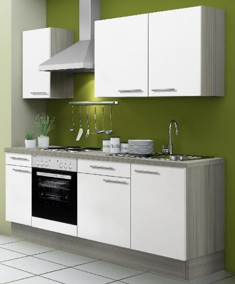 OPTIbasic Köögikomplekt OPTIkoncept valge läikega, 210 cm