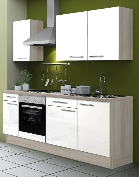 OPTIbasic Köögikomplekt OPTIkoncept valge kõrgläige, 210 cm