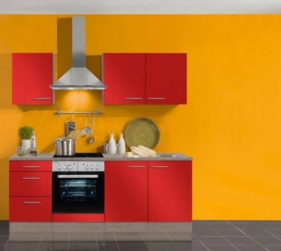 OPTIbasic Köögikomplekt OPTIflexx 210 cm, beež läikega või punane läikega