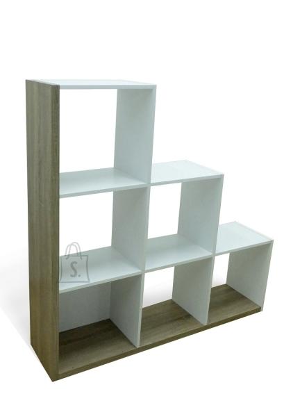 Demeyere Raamaturiiul STAIRS tamm / valge, 127,5x29,2xH125,6 cm
