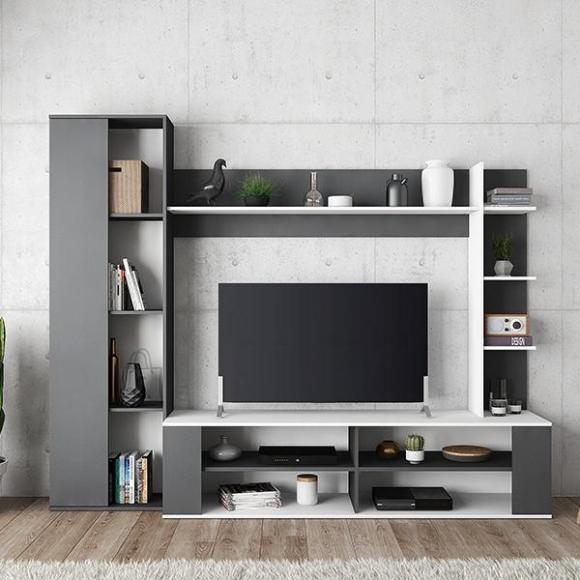 Demeyere TV-alus ERNEST hall / valge, 224x44xH180 cm