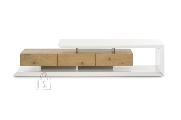 Tv-alus EMELA valge / tamm, 198x40xH43 cm