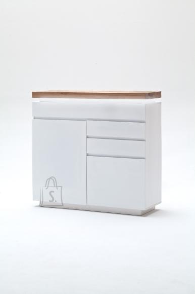 MCA Kummut ROMINA valge / tamm, 120x40xH114 cm, LED