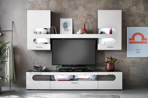 Trendteam Elutoamööbli komplekt BOLERO, valge läige / tumehall, 250x40xH205 cm LED