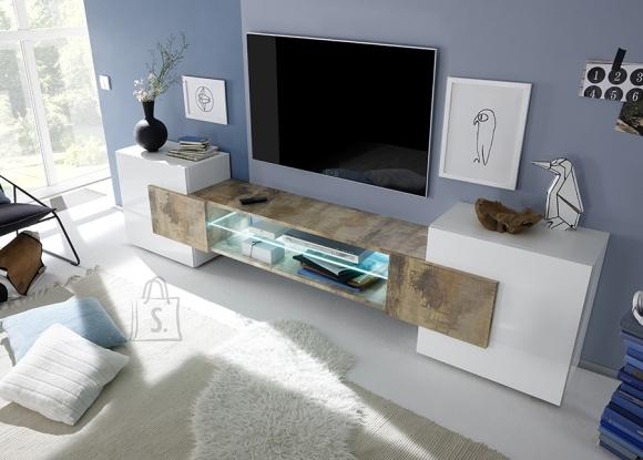 MCA Tv-alus INCASTRO valge / tamm Pero, 258x37xH61 cm