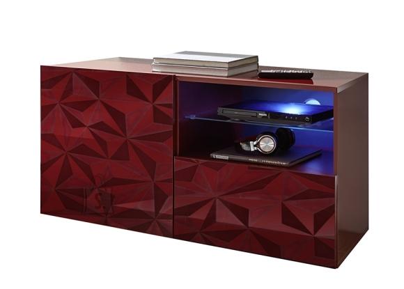 MCA Tv-alus PRISMA tumepunane läige, 122x42xH57 cm, LED
