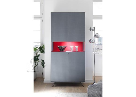 MCA Vitriinkapp GLAMOUR süsihall / punane, 93x50xH201 cm, LED