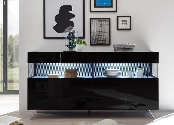 MCA Vitriinkapp GLAMOUR must läige / ruuduline, 184x50xH95 cm, LED