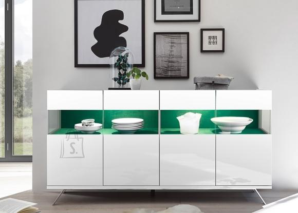 MCA Vitriinkapp GLAMOUR valge läige / roheline, 184x50xH95 cm, LED