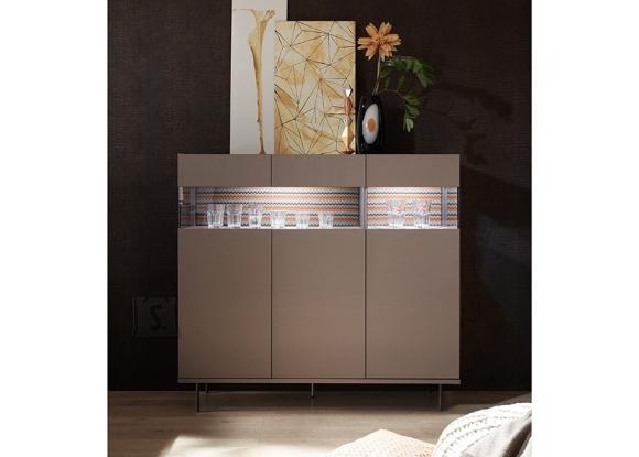 MCA Vitriinkapp GLAMOUR pronks / sik-sak muster, 138x50xH127 cm, LED
