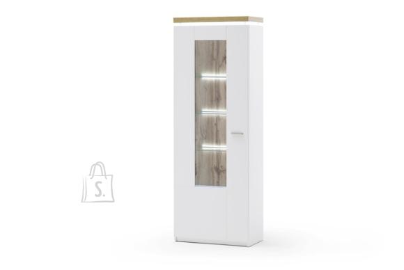 MCA Vitriinkapp CALI mattvalge / tamm, 70x38xH198 cm, LED