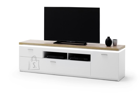 MCA Tv-alus CALI mattvalge / tamm, 196x44xH57 cm, LED